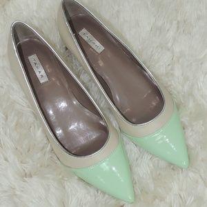 Patent Leather Low Heel Tahari KAT vanilla green